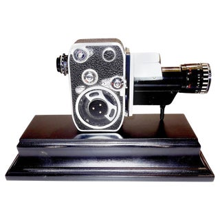 Bolex Circa Mid-Century Complete 8mm Movie Camera Mounted as Sculpture For Sale