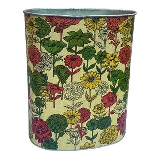 Vintage Victorian-Inspired Multicolored Floral Metal Wastebasket For Sale