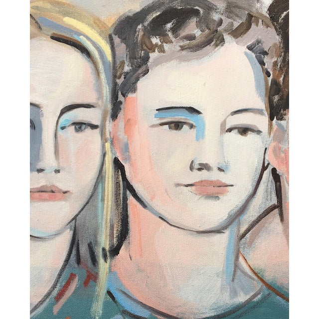 This portrait of three, features soft colors of blues, yellow and orange. Subtle colors and bold brush strokes enhance...