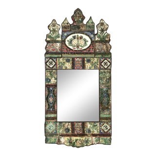 Antique Indian Reverse Glass Painted Mirror For Sale