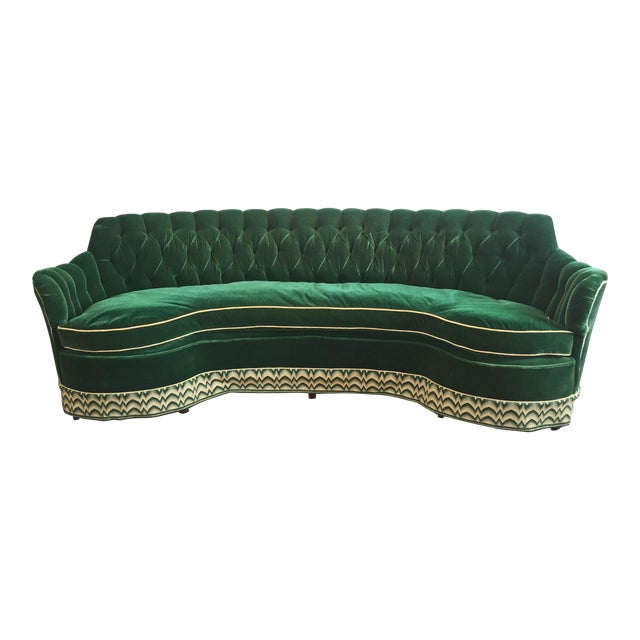 Green Mohair Curved Tufted Sofa For Sale