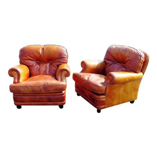 20th Century Italian Burnt Orange Leather Club Chairs - a Pair