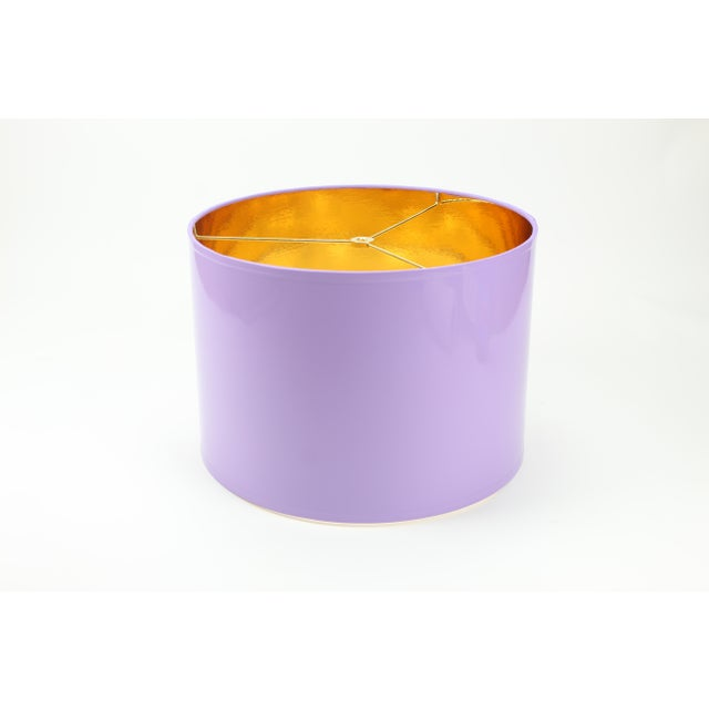 HIgh Gloss Lavender Drum Lamp Shade With Gold LIning For Sale - Image 6 of 8