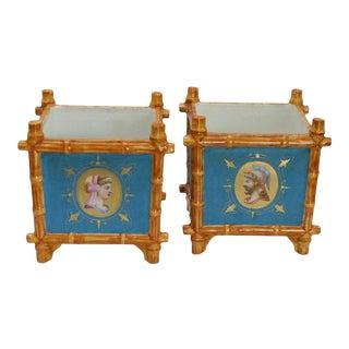 Pair of Porcelain Blue Cachepots by Vieux Paris, 19th Century Classical Motif For Sale