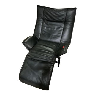 Vintage Black Leather Mid Century Wing Back Recliner For Sale
