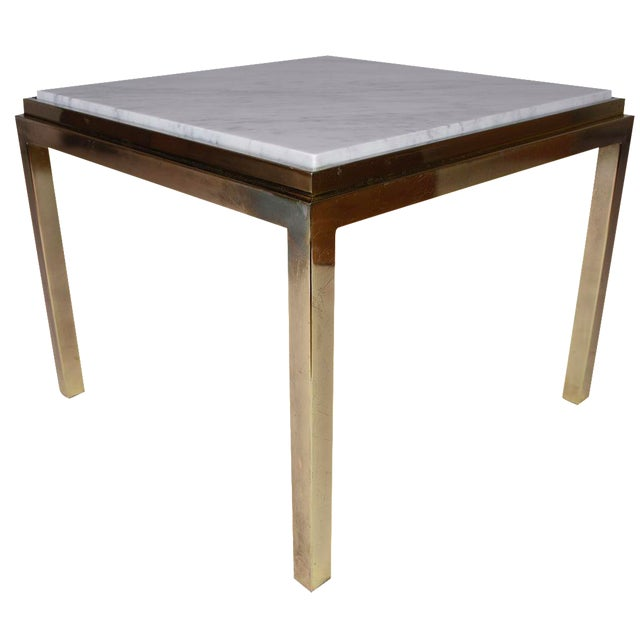 Vintage Modern-Style Square Brass & Marble Coffee Table