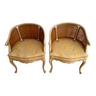 Vintage Karges French Double-Caned Barrel Back Armchairs- Pair For Sale