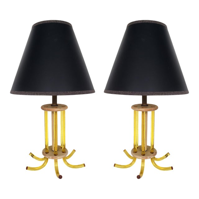 Mid-Century Modern Lucite Table Lamps - a Pair For Sale