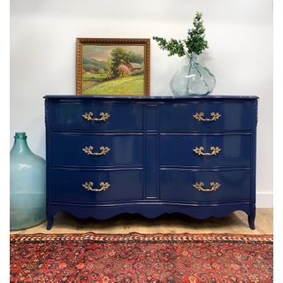 1950's French Provincial Navy Blue High Gloss Dresser Preview