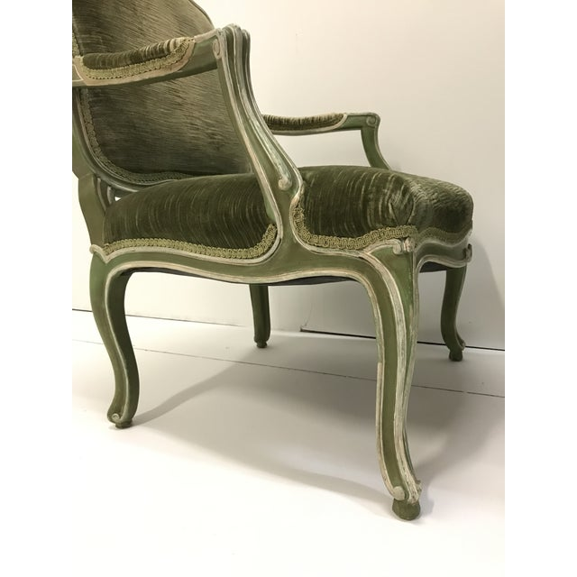 1940s Vintage Louis XV Revival Green Velvet Bergere Chairs Cabriole Leg Scroll Foot Painted Mahogany Country French - a Pair For Sale - Image 5 of 8