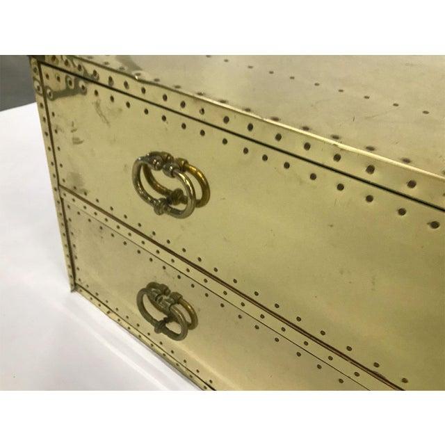 1970s Vintage Sarreid Ltd Two-Drawer Brass-Clad Chest For Sale - Image 5 of 11