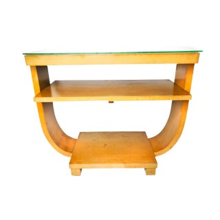 1940's Hollywood Regency U Shaped Solid Wood Console Table For Sale