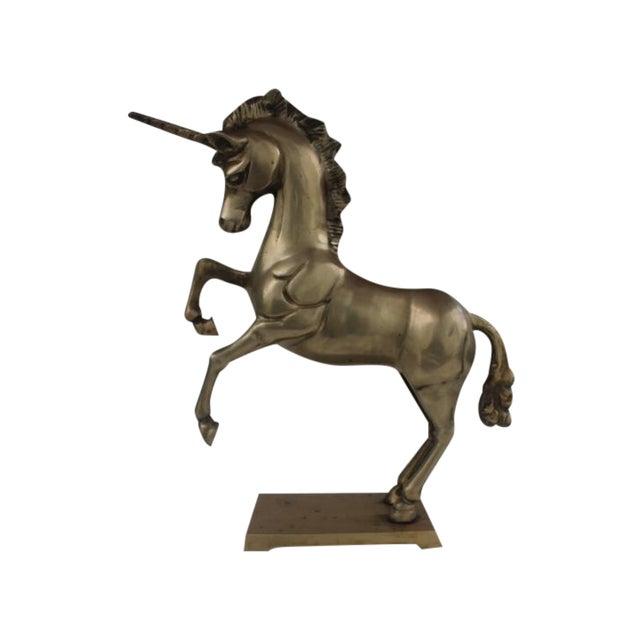 1970s Regency Solid Brass Unicorn Sculpture - Image 1 of 8