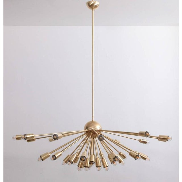 1970s Impressive Brass Sputnik Chandelier in the Manner of Stilnovo For Sale - Image 5 of 6
