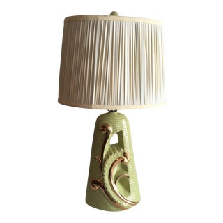 Mid Century Lime Green and Gold Lamp For Sale