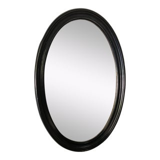 1980s Traditional Black Wooden Oval Mirror