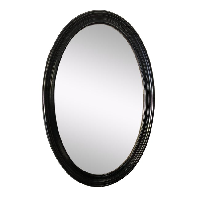 1980s Traditional Black Wooden Oval Mirror For Sale
