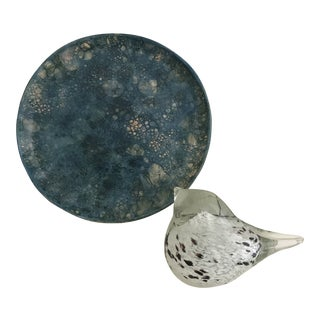 Blue Ceramic Disk and Glass Bird Paperweight - a Pair For Sale