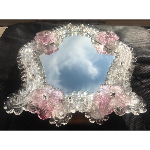 Mid 20th Century Italian Venetian Murano Glass Wall Mirror With Pink Rosettes, 1950s For Sale - Image 5 of 11