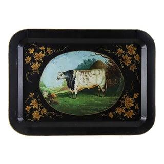 Vintage Farm Animal White Cow Tray For Sale