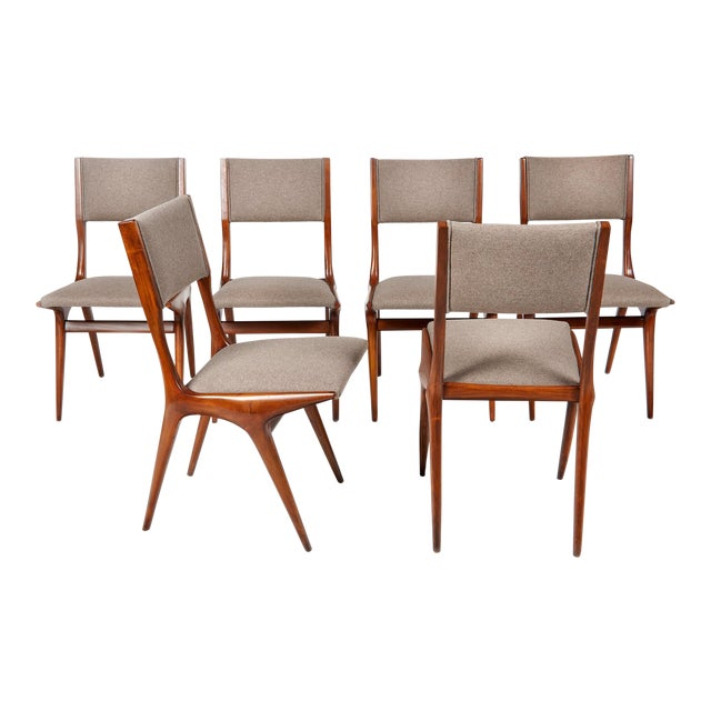 Carlo De Carli Mod 158 Dining Chairs, Italy, 1953 - Set of 6 For Sale