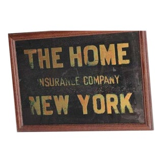 """1900's Reverse Glass """"The Home Insurance Company New York"""" Sign"""