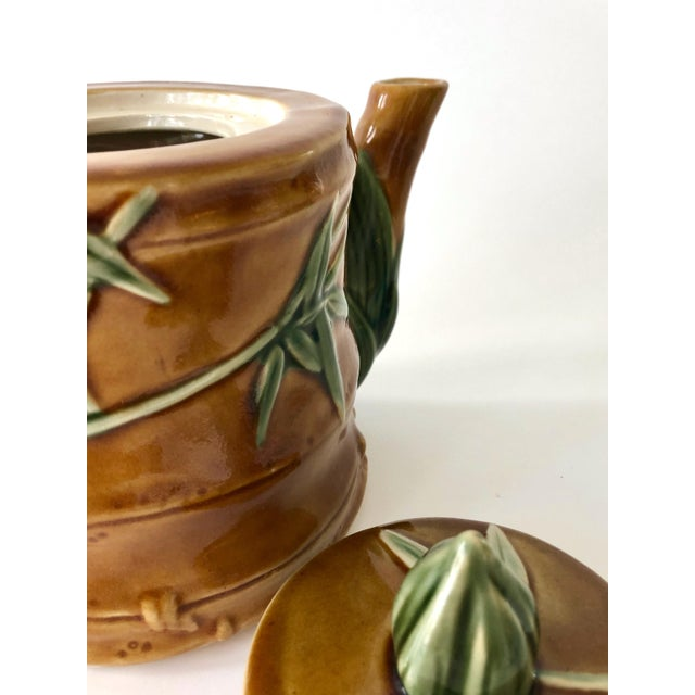 Vintage Ceramic Teapot With Bamboo Relief Carving For Sale - Image 10 of 13