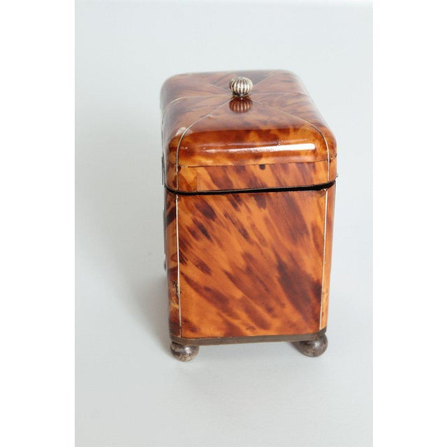 Silver Early 19th Century English Regency Tortoiseshell Tea Caddy For Sale - Image 8 of 11