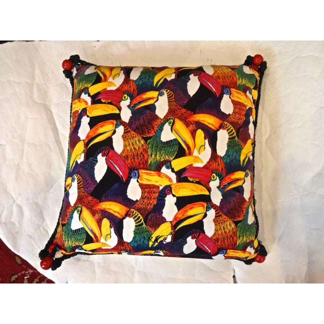 1990s Toucan Needlepoint Pillow For Sale - Image 5 of 6