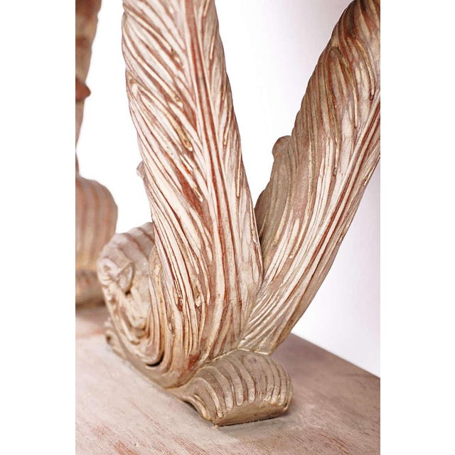 Pink Carved and White Washed, Plume Based Console in the Manner of Grosfeld House For Sale - Image 8 of 8