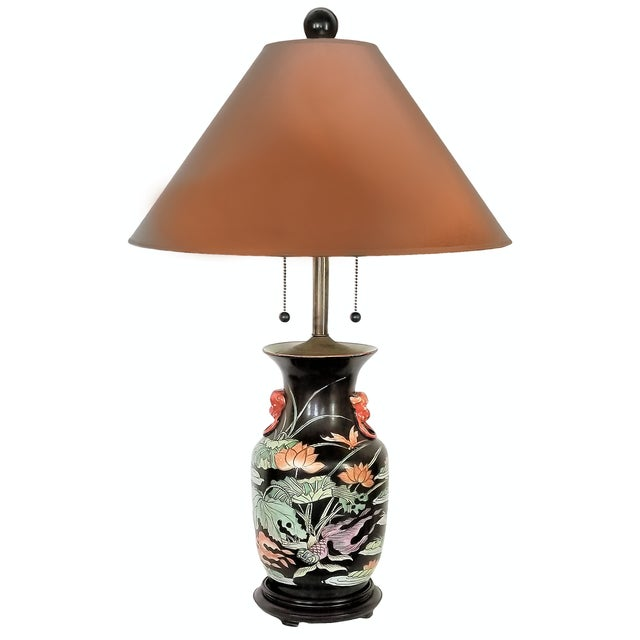 Vintage Chinese Porcelain Famille Noire Lamp For Sale - Image 11 of 12