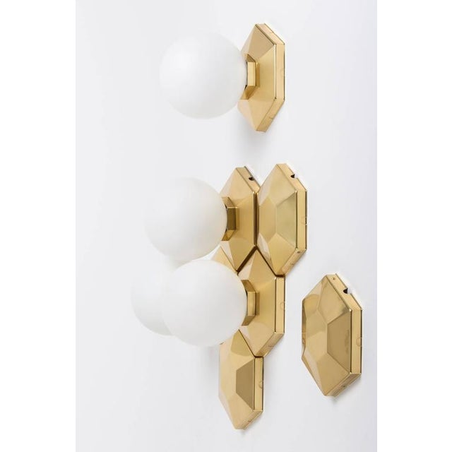 Multiple Brass and Glass Flush Mounts for Modular Installation For Sale - Image 4 of 9