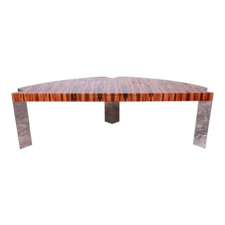 Leon Rosen for Pace Collection Brazilian Rosewood and Polished Steel Executive Desk, 1970s For Sale
