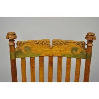 1900s Antique Victorian Oak Wood Arts & Crafts Rocker Rocking Chair Preview