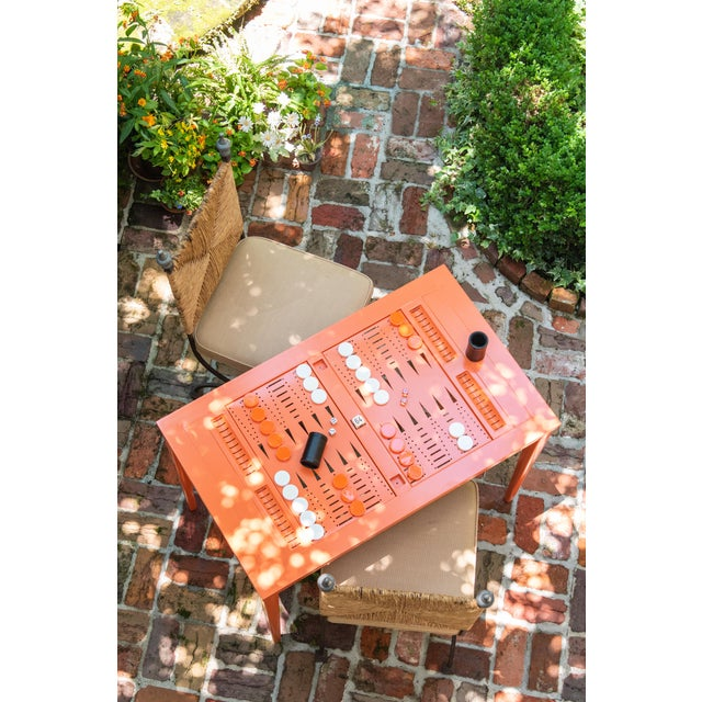 American Oomph Backgammon Outdoor Table, Blue For Sale - Image 3 of 7
