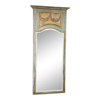 French Late 19th C Painted & Gilt Wood Floor Mirror/Trumeau For Sale