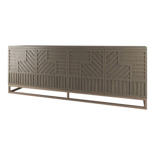 Stria Credenza - Brushed Brass Base, Weatherd Grey Oak For Sale