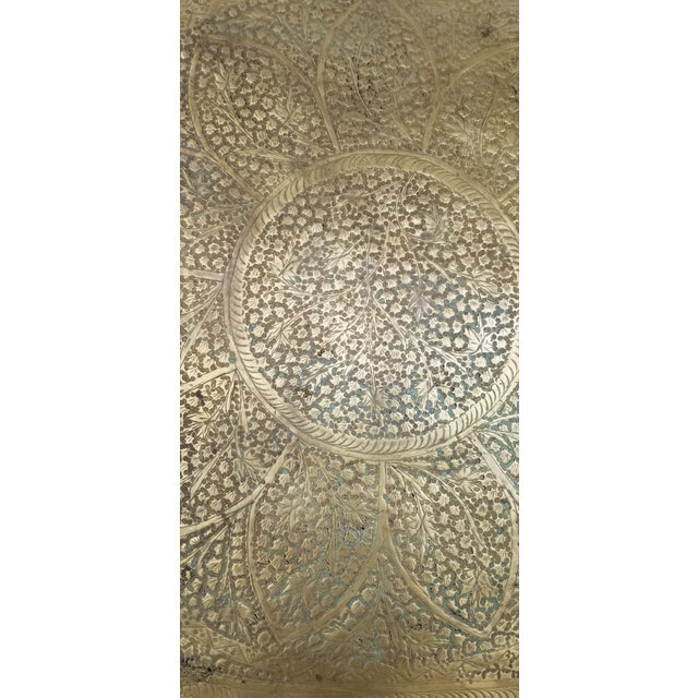 Mid-Century Modern Vintage Moroccan Brass Oval Tray/Table Top For Sale - Image 3 of 5