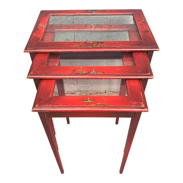 Japanese Red Lacquer and Glass Nesting Tables - Set of 3 For Sale