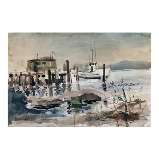 Coastal Watercolor 1960s For Sale
