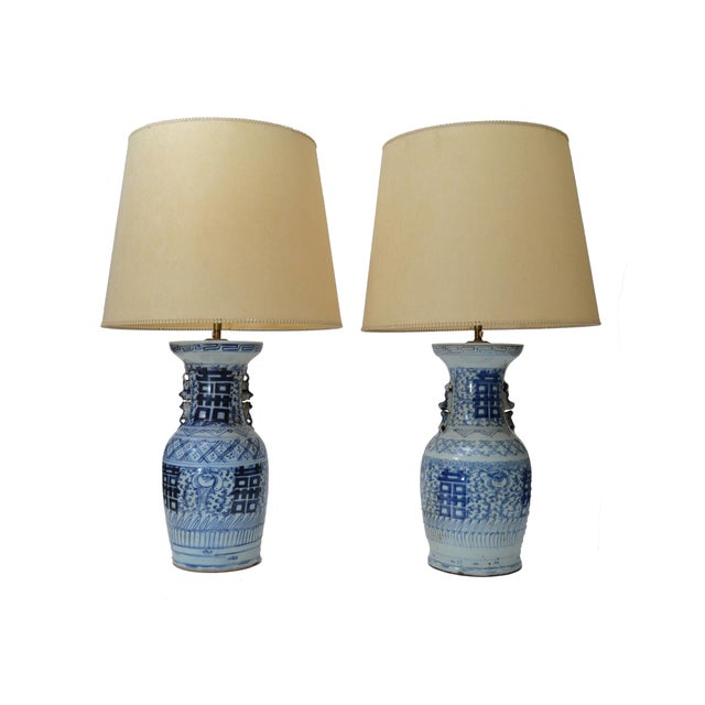 Chinese Blue Grey Pottery Table Lamps with Original Shades - A Pair For Sale In Miami - Image 6 of 6