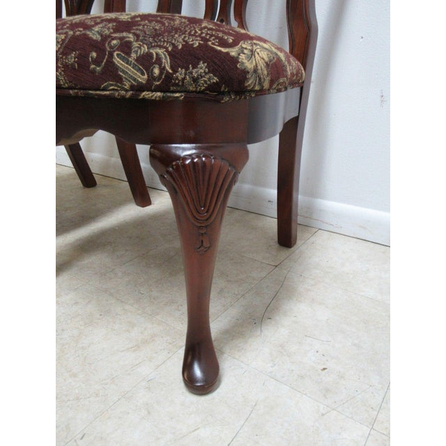 1990s Thomasville Solid Mahogany Chippendale Arm Chairs - A Pair For Sale - Image 5 of 10