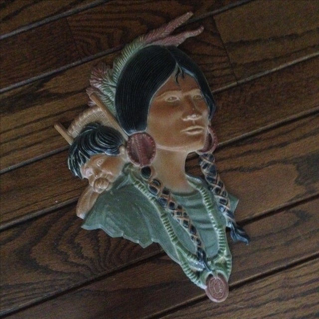 Vintage Metal Native American Wall Plaques - Pair - Image 5 of 11