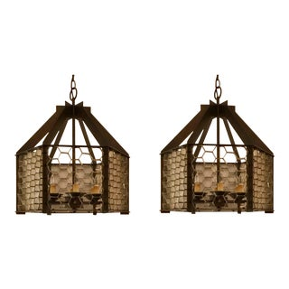 Modern Currey & Co. Honeycomb Prototype Chandeliers - A Pair For Sale