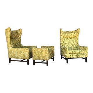 Directional Mid-Century Modern Wingback Chairs With Ottoman - Set of 3 For Sale