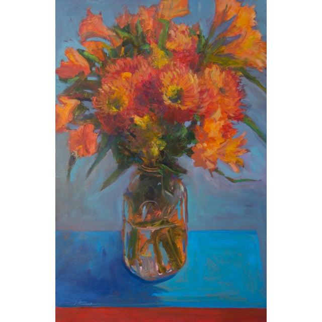 """""""Orange Dahlias"""" Oil Painting For Sale"""