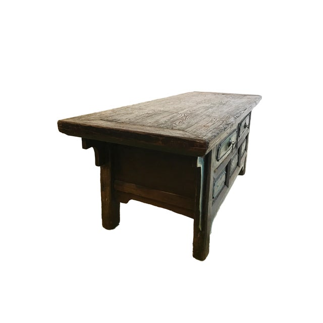 Asian Tibetan Brown Drawers Low Altar Table Chest For Sale - Image 3 of 8