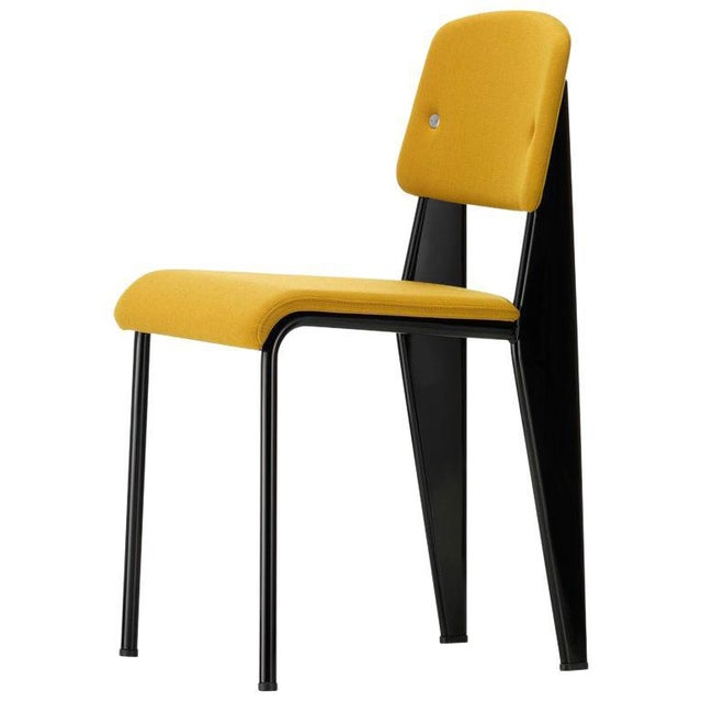 Vitra Standard SR Chair in Canola and Deep Black by Jean Prouvé For Sale - Image 9 of 9