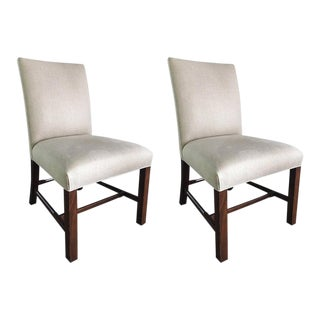 Upholstered Gainsborough Style Custom Made Chairs, 20th Century - A Pair For Sale