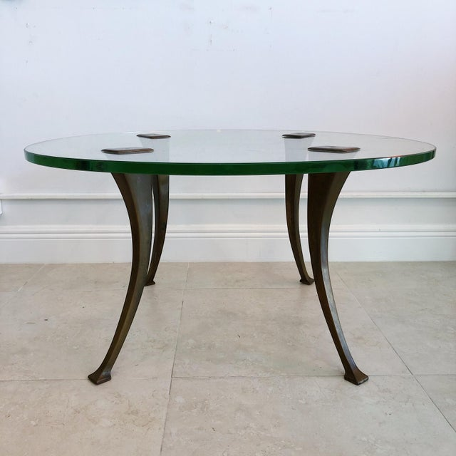 Mid-Century Modern 1940's Vintage Bronze & Glass Circular Cocktail Coffee Table For Sale - Image 3 of 8